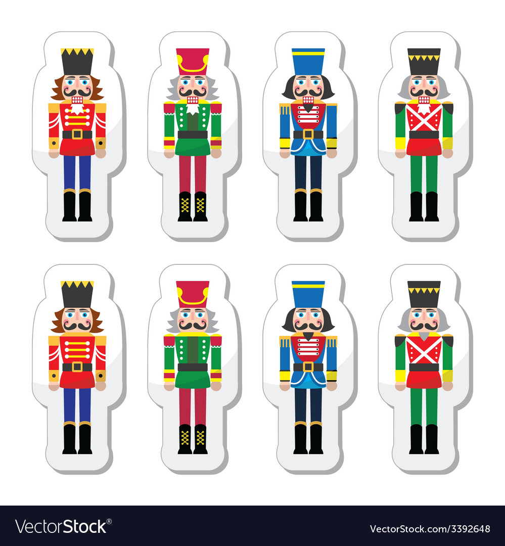 Christmas nutcracker - soldier figurine icons set vector | Price: 1 Credit (USD $1)