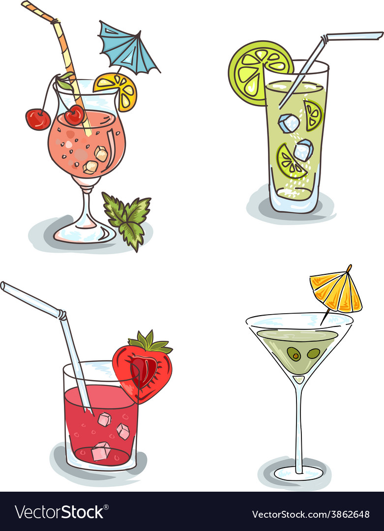 Different cocktails with fruit vector | Price: 1 Credit (USD $1)