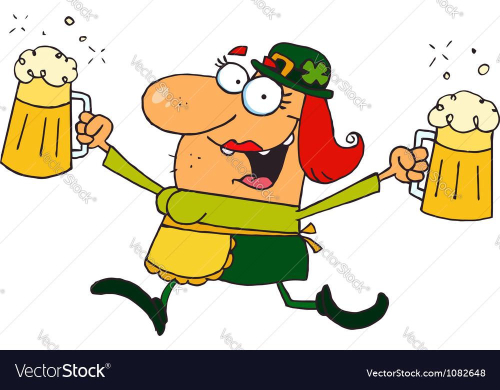 Female leprechaun running with beers vector | Price: 1 Credit (USD $1)
