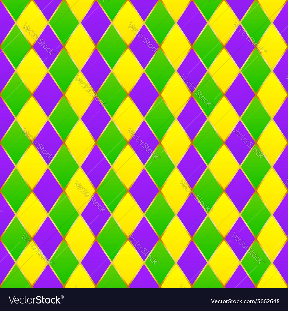 Green purple yellow grid mardi gras seamless vector | Price: 1 Credit (USD $1)