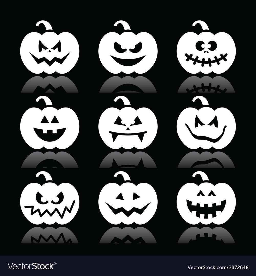 Halloween pumpkin icons set on black vector   Price: 1 Credit (USD $1)