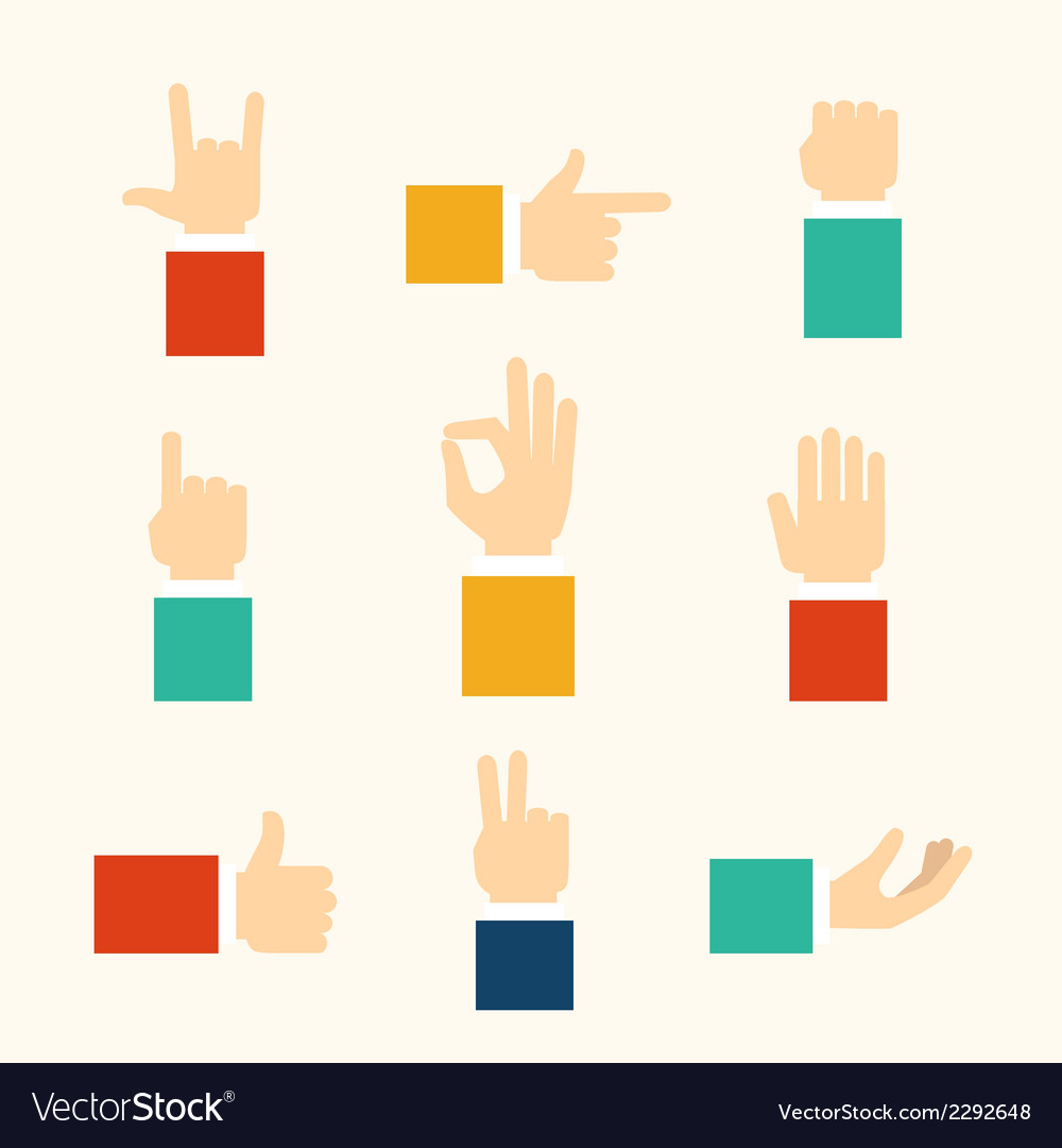 Hands gestures icons vector | Price: 1 Credit (USD $1)