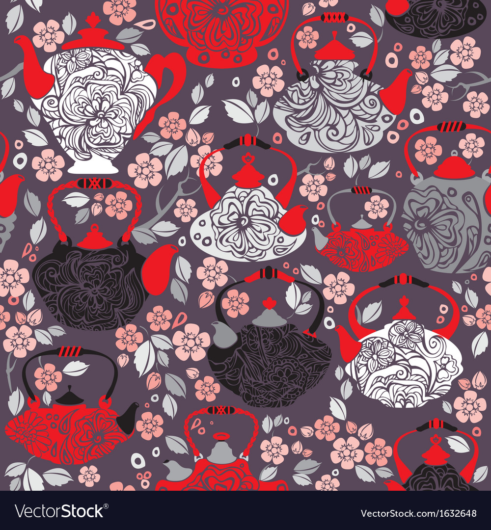 Seamless pattern with retro design china tea pots vector | Price: 1 Credit (USD $1)