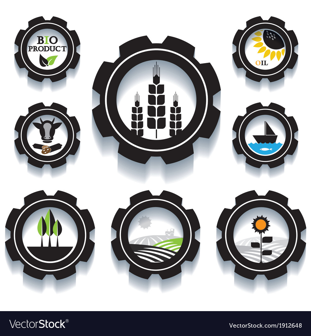 Set of industrial and agricultural icons vector | Price: 1 Credit (USD $1)
