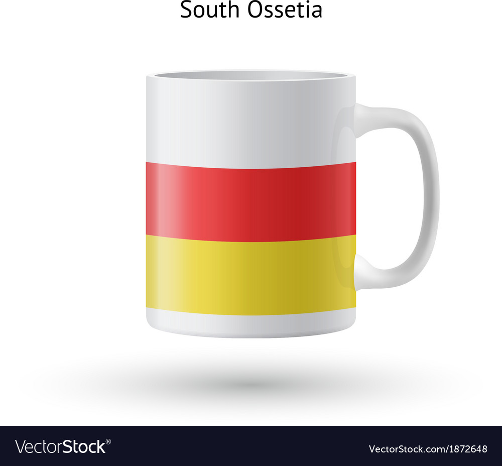 South ossetia flag souvenir mug on white vector | Price: 1 Credit (USD $1)