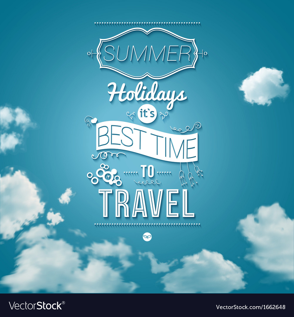 Summer holidays poster in cutout paper style vector | Price: 1 Credit (USD $1)