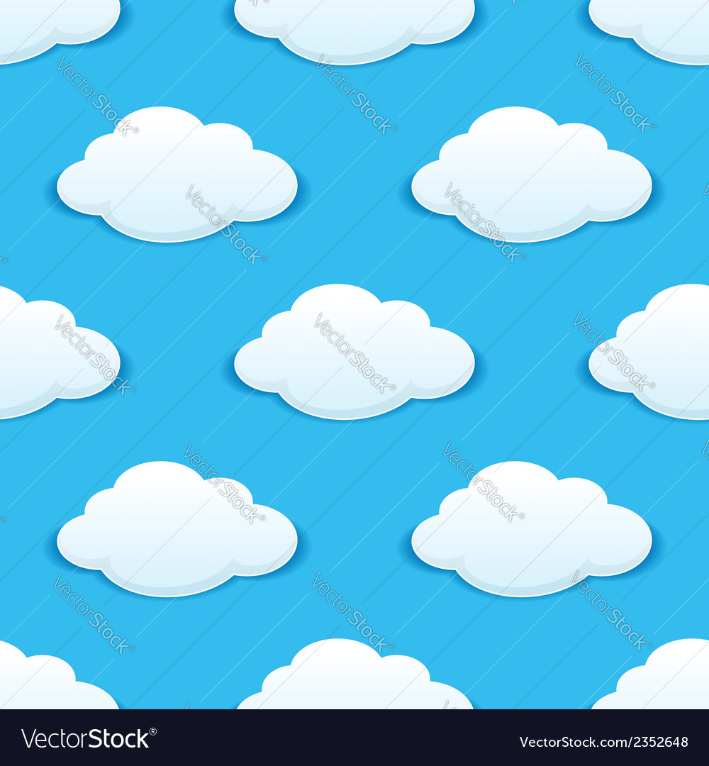 White fluffy clouds in a blue sky seamless pattern vector | Price: 1 Credit (USD $1)