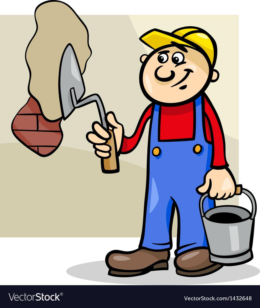Worker with trowel cartoon vector | Price: 1 Credit (USD $1)