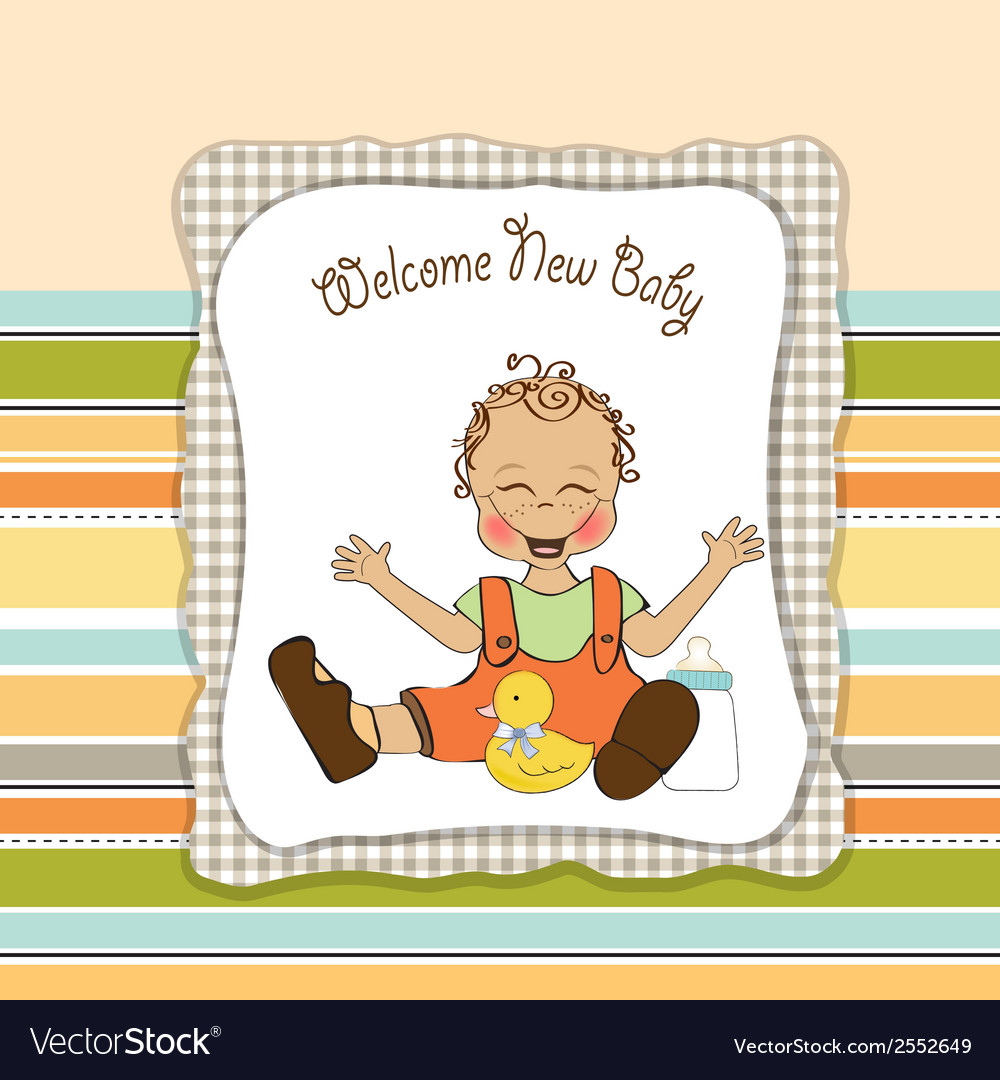 Baby boy playing with his duck toy welcome baby vector | Price: 1 Credit (USD $1)