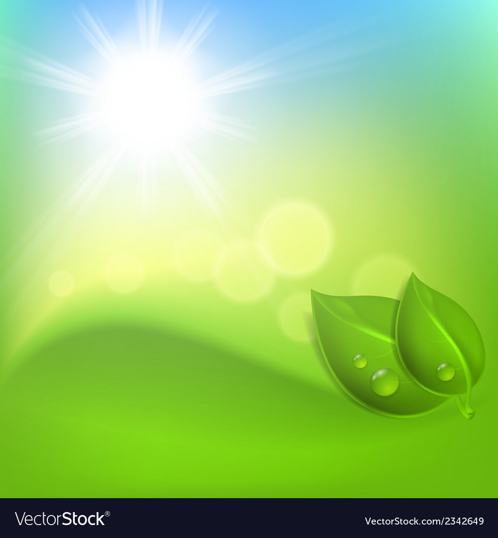 Background with green leaf and a drop of dew vector | Price: 1 Credit (USD $1)