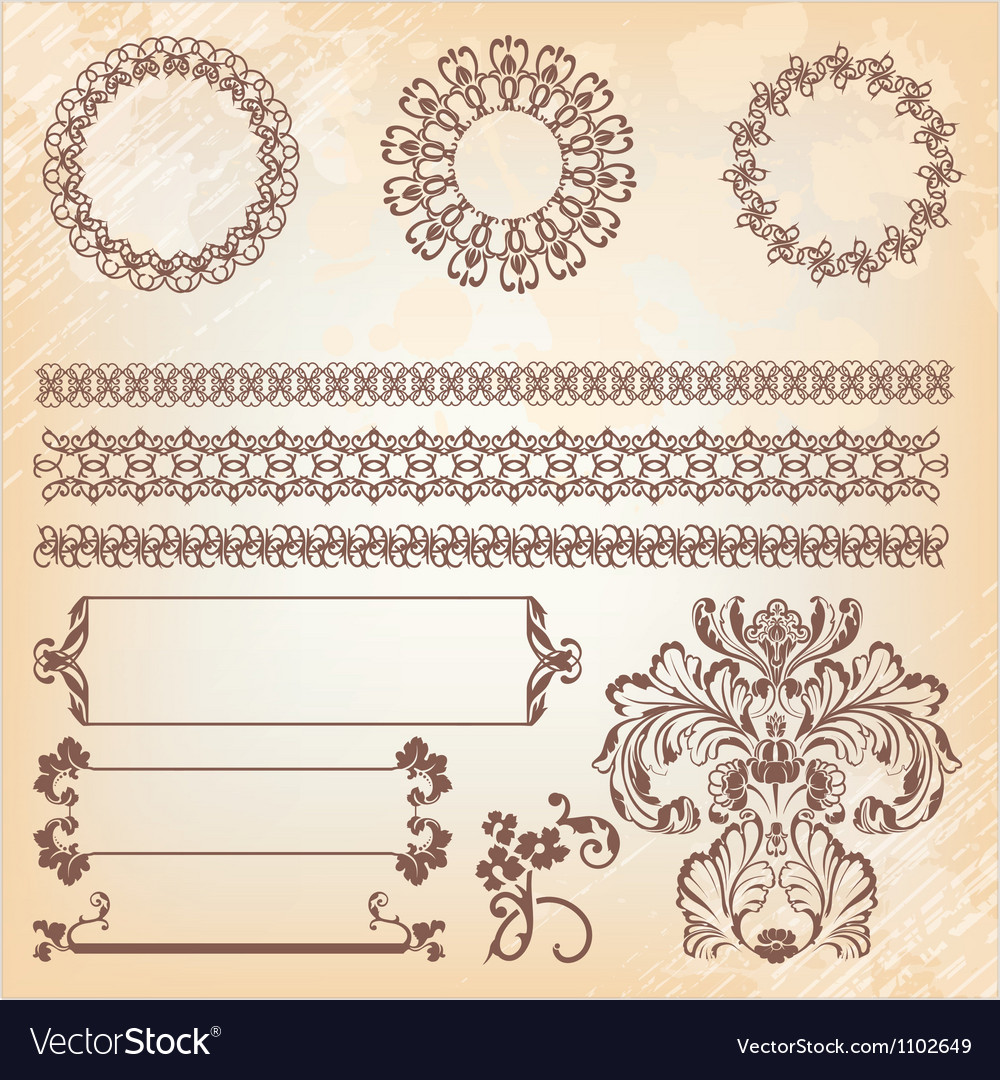 Collection of ornate page decor elements borders vector | Price: 1 Credit (USD $1)