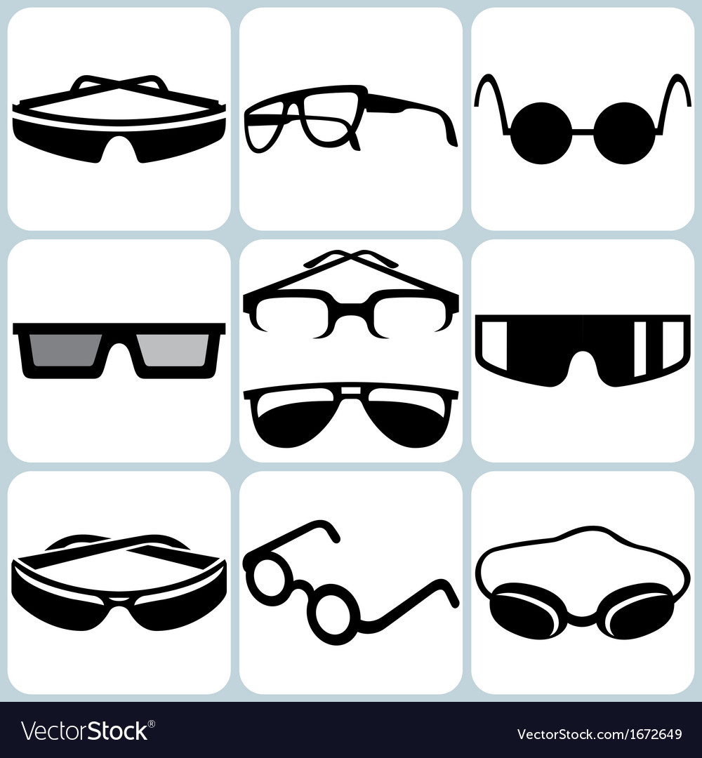 Glasses icon set vector | Price: 1 Credit (USD $1)