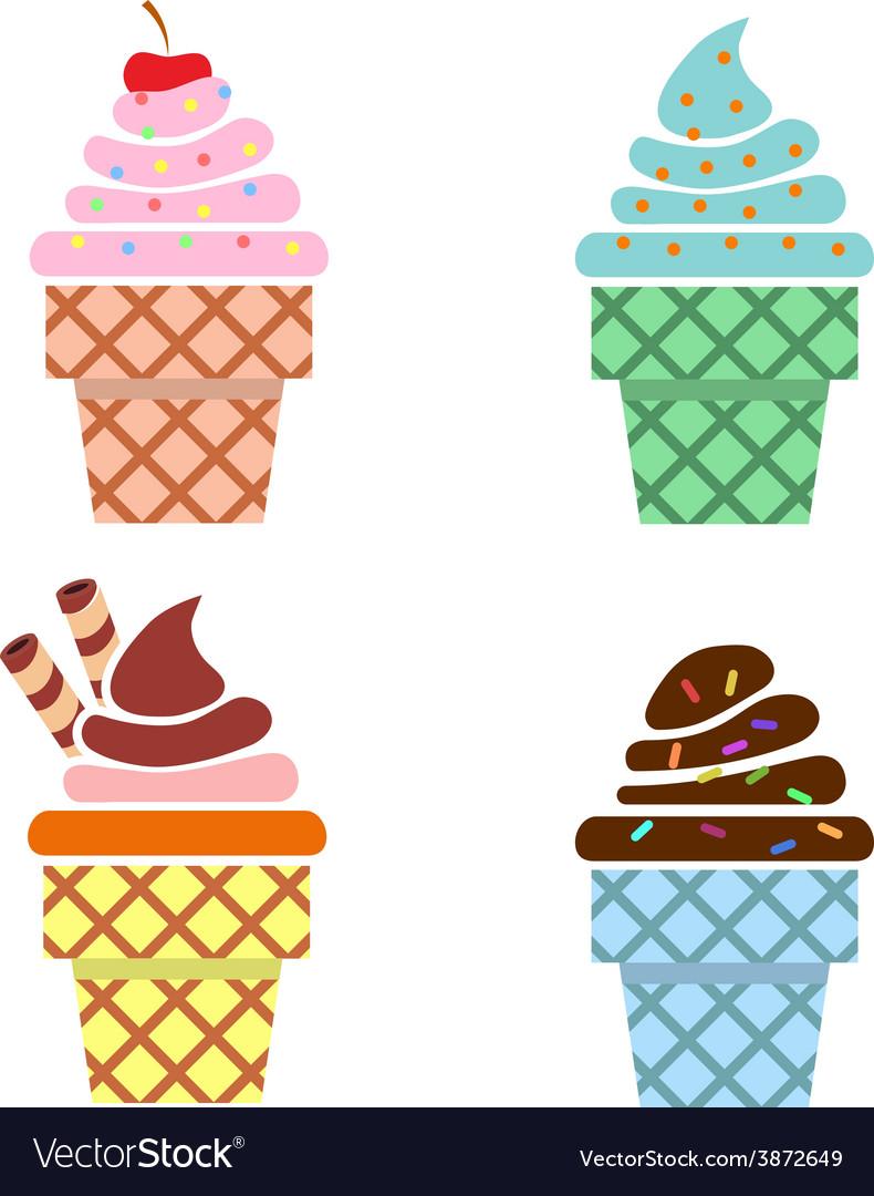 Ice cream web icons flat design vector | Price: 1 Credit (USD $1)