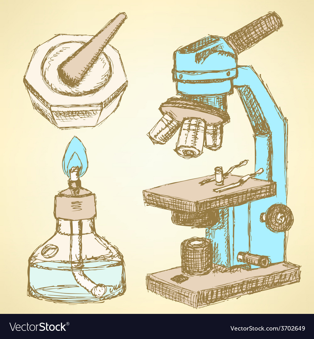 Sketch microscope in vintage style vector | Price: 1 Credit (USD $1)