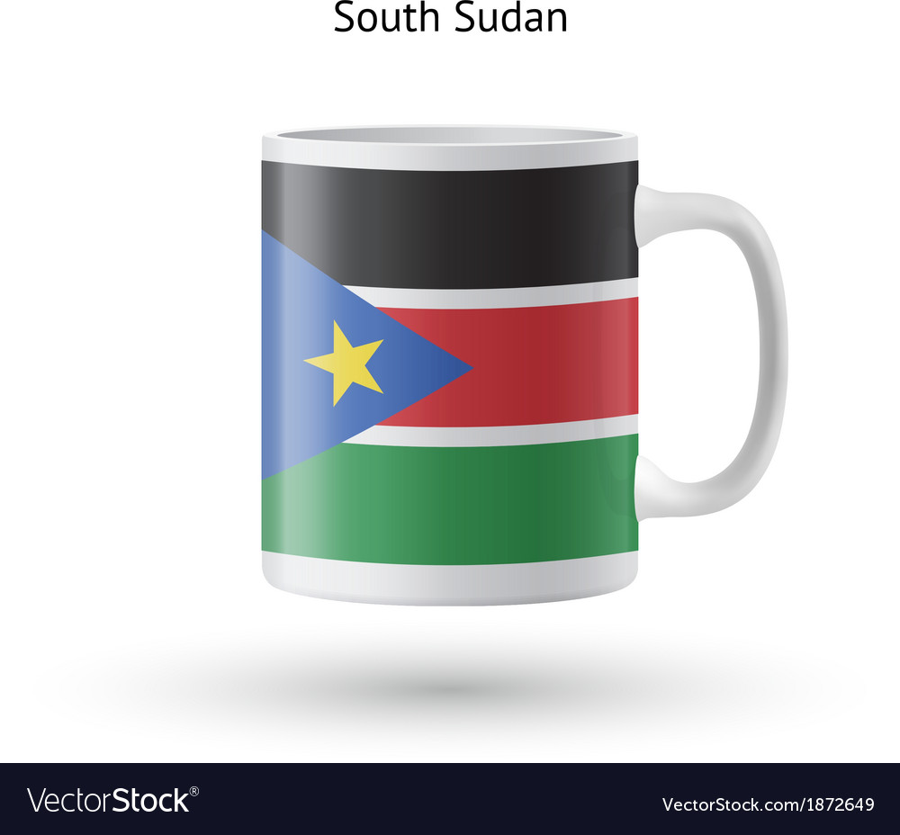 South sudan flag souvenir mug on white background vector | Price: 1 Credit (USD $1)