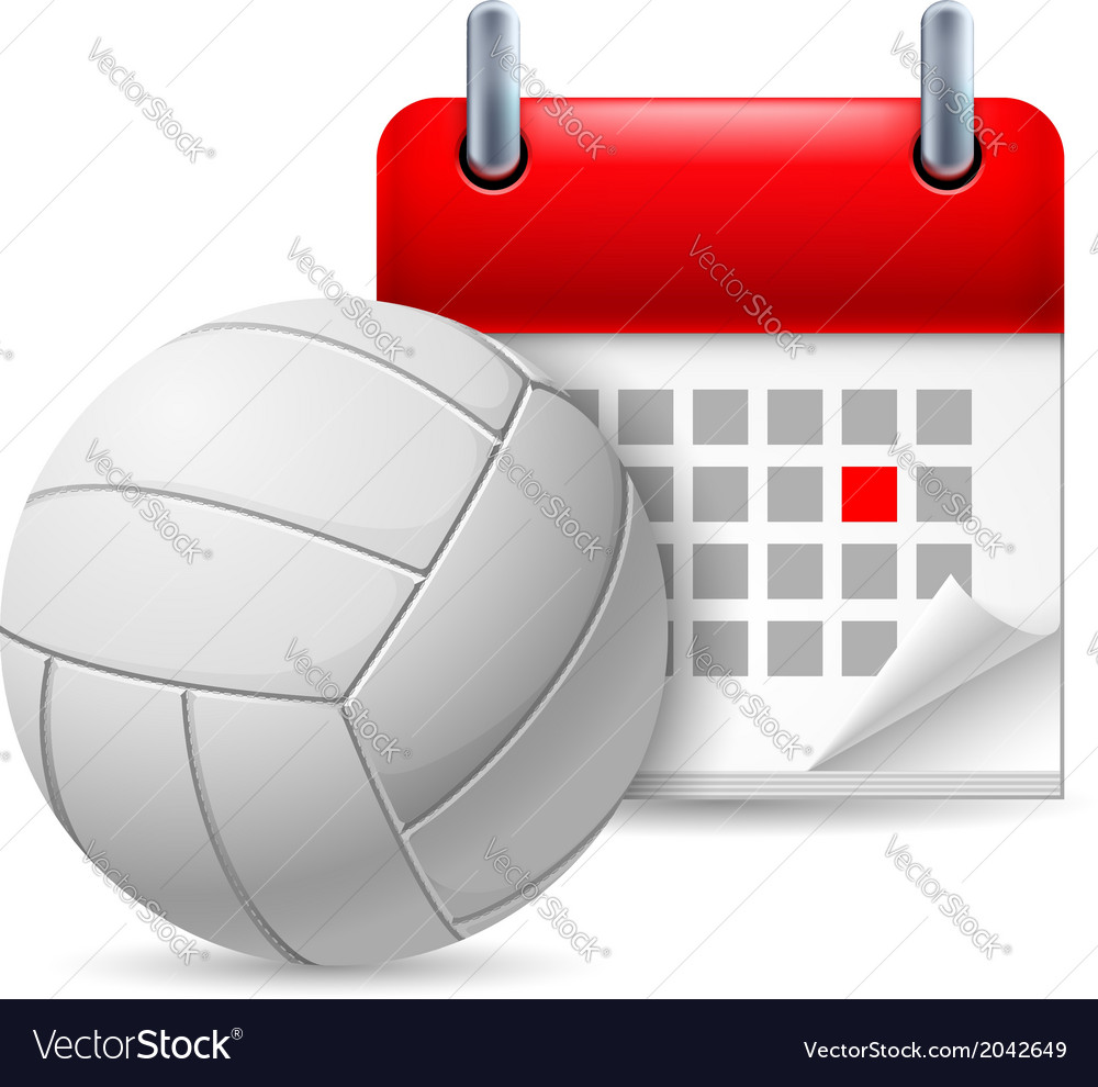 Volleyball and calendar vector | Price: 1 Credit (USD $1)