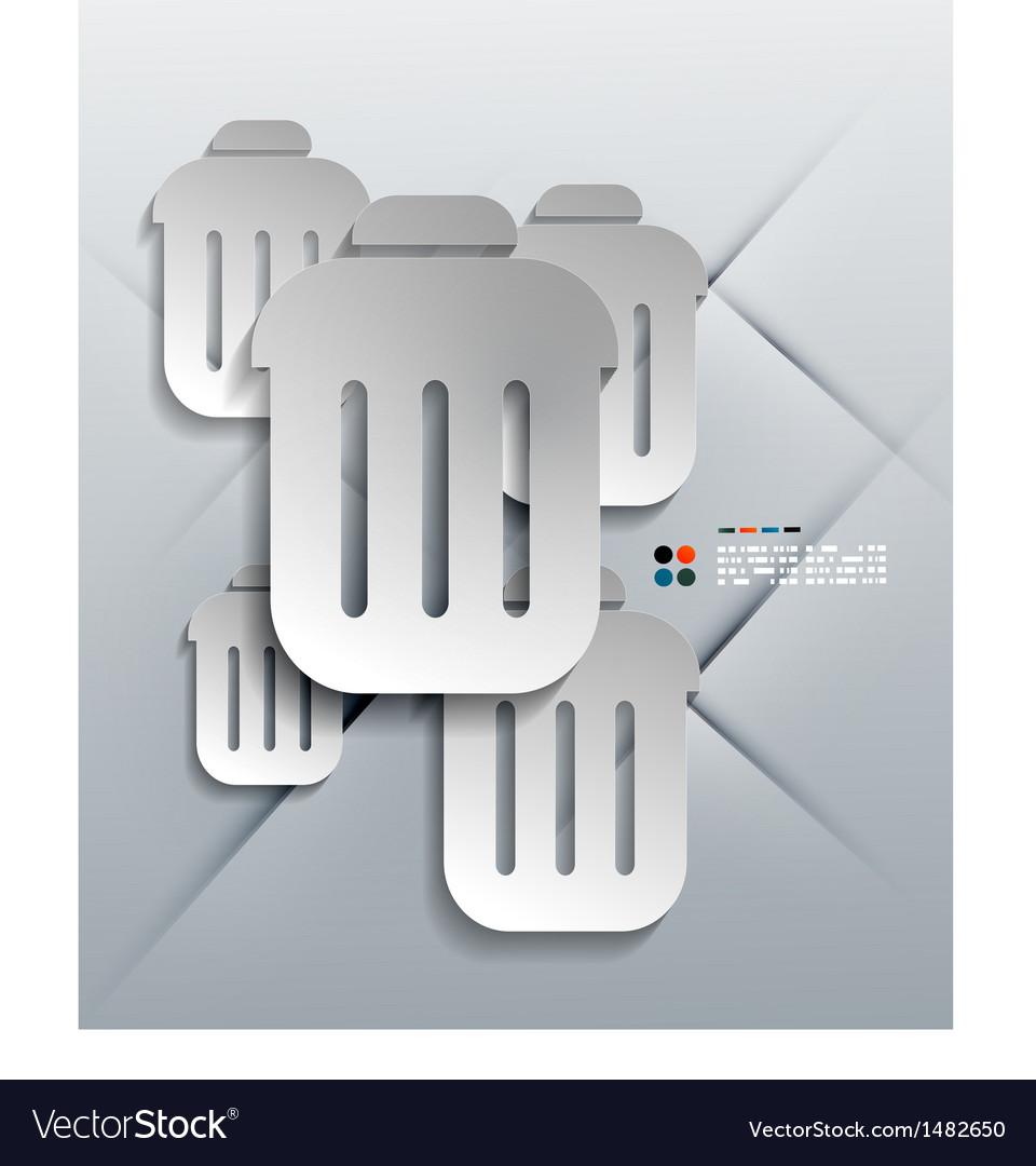 3d paper bin modern design vector | Price: 1 Credit (USD $1)