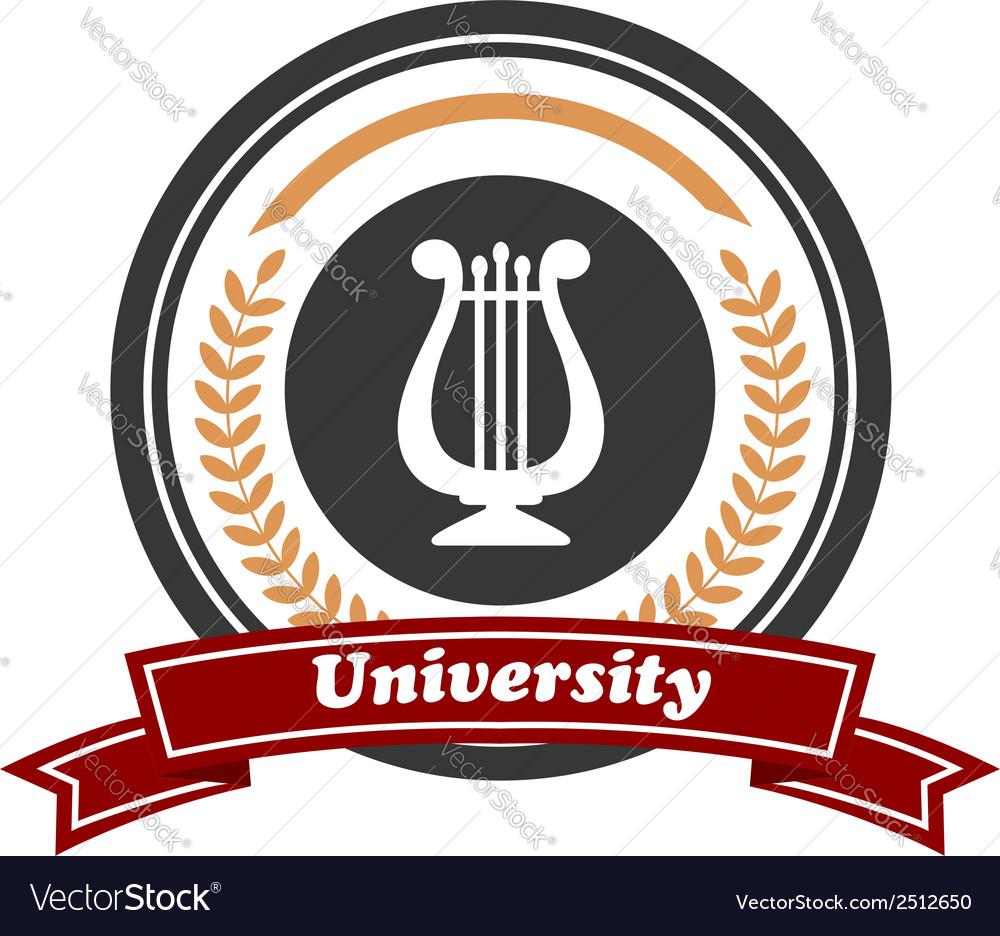 Art university emblem with laurel wreath vector | Price: 1 Credit (USD $1)