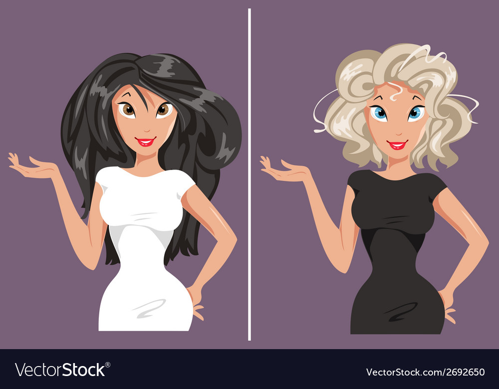 Blonde and brunette vector | Price: 1 Credit (USD $1)