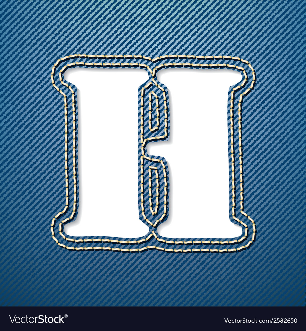 Denim jeans letter h vector | Price: 1 Credit (USD $1)
