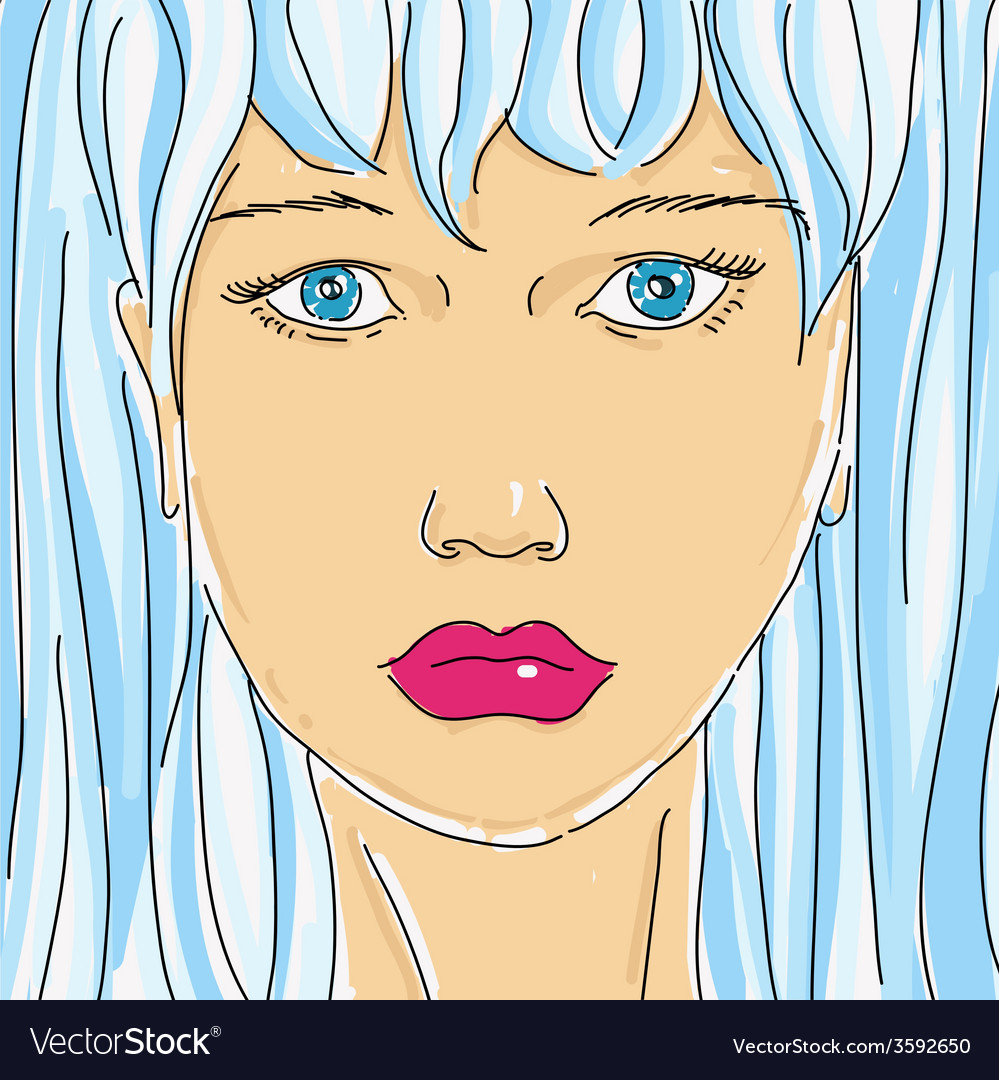 Drawing female face vector | Price: 1 Credit (USD $1)