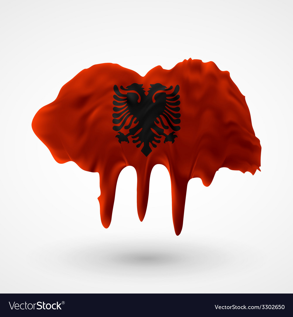 Flag of albania painted colors vector | Price: 1 Credit (USD $1)
