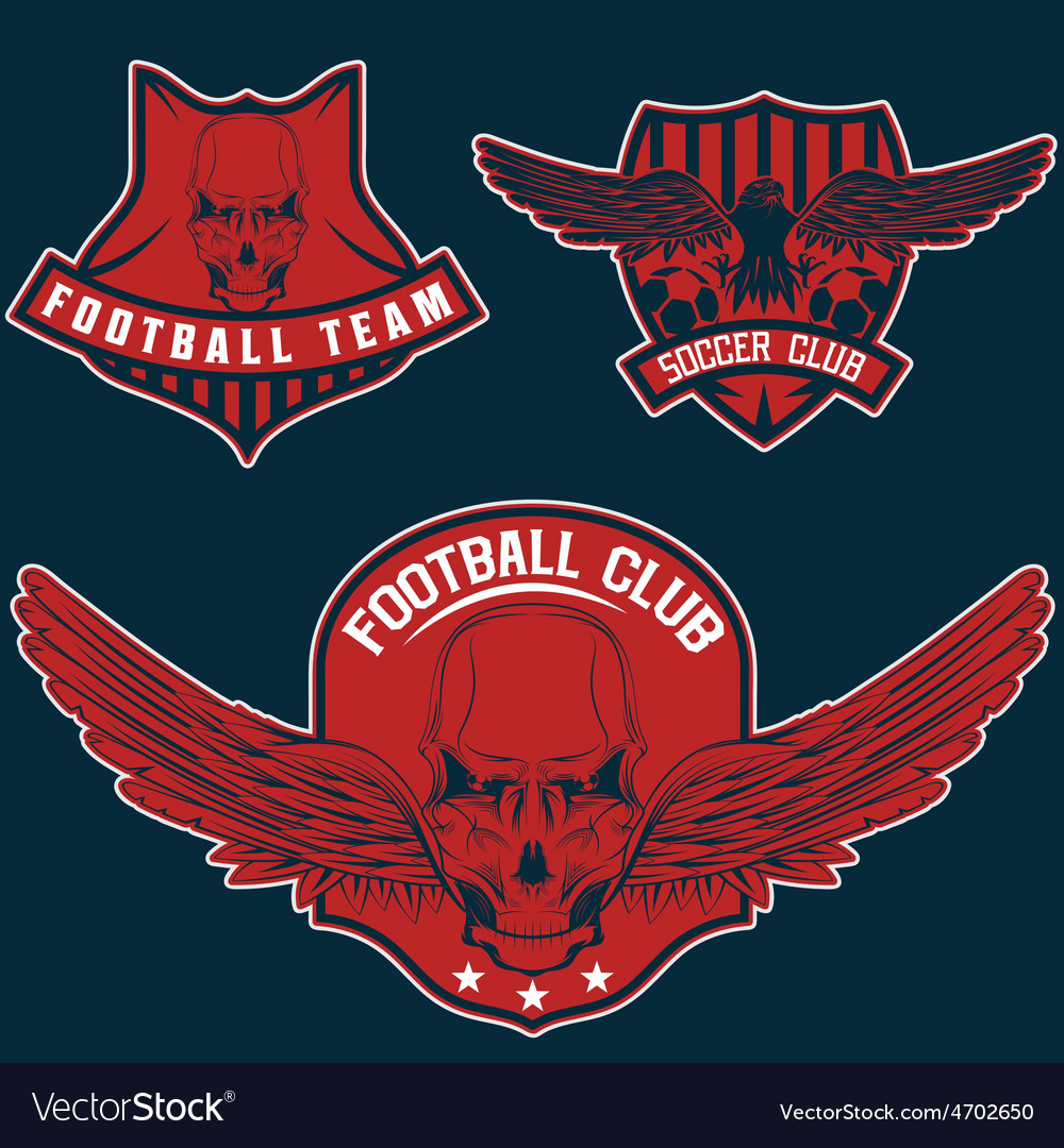 Football team crests set with eagles and skulls vector | Price: 3 Credit (USD $3)
