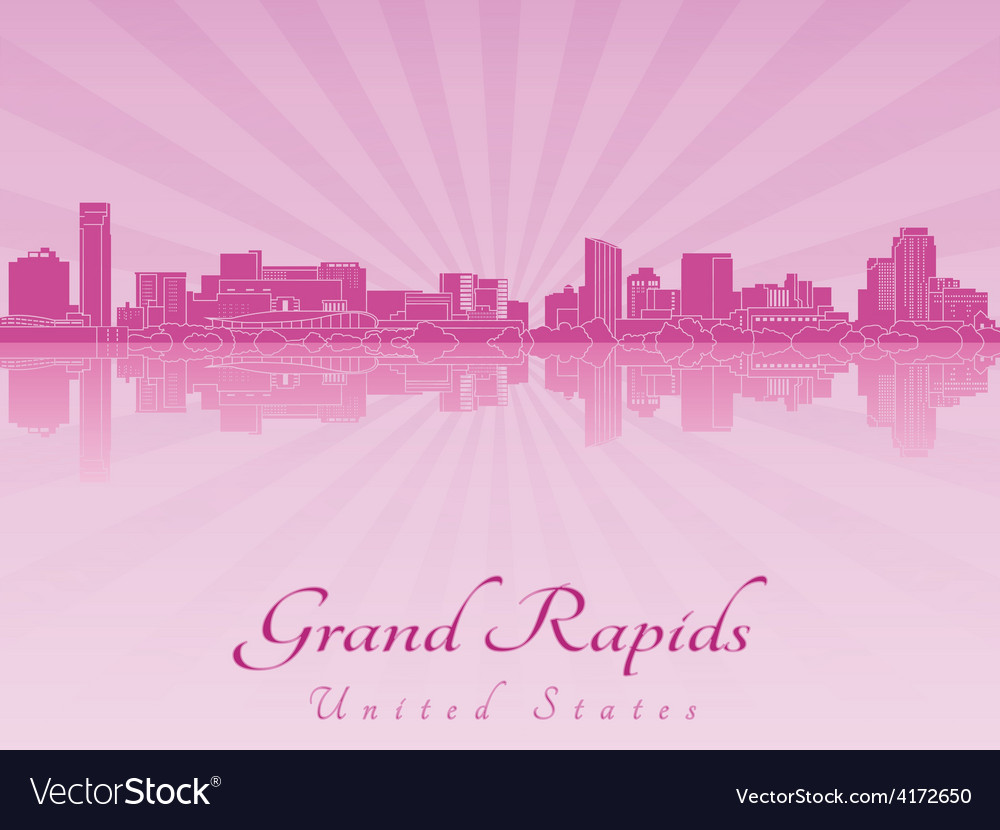 Grand rapids skyline in purple radiant orchid vector | Price: 1 Credit (USD $1)