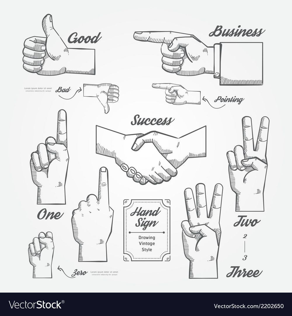 Hand and finger sign doodle drawn on chalkboard vector | Price: 1 Credit (USD $1)