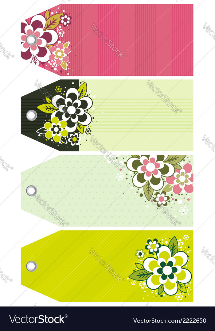 Labels with decorative flowers vector | Price: 1 Credit (USD $1)