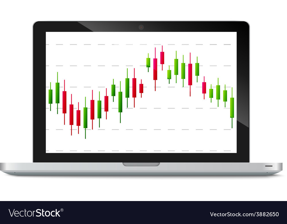 Laptop with forex chart on desktop vector | Price: 1 Credit (USD $1)