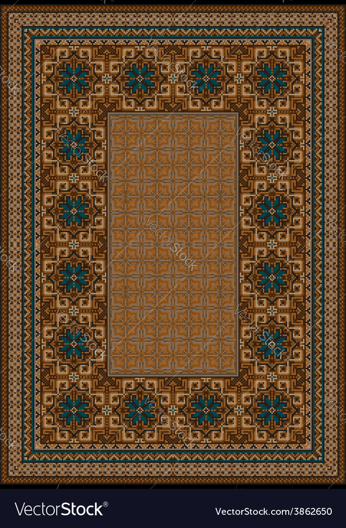 Luxury carpet with blue pattern vector | Price: 1 Credit (USD $1)