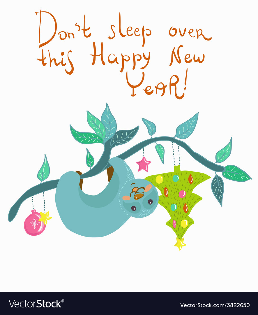 New year card with funny doodle cartoon sloth vector | Price: 1 Credit (USD $1)