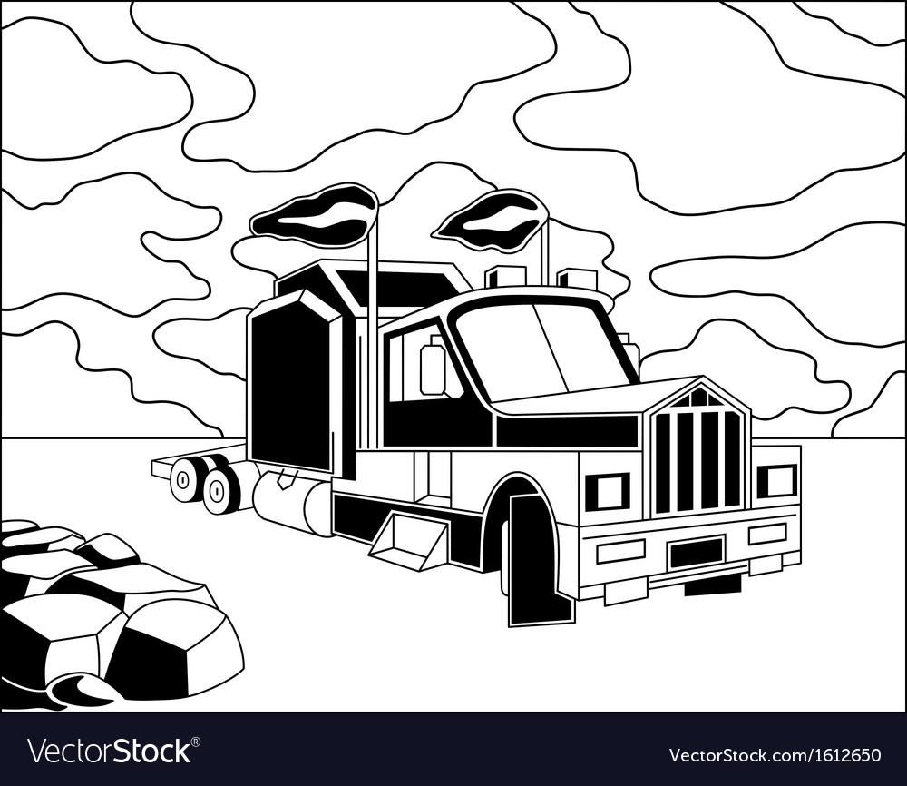 Semi truck vector | Price: 1 Credit (USD $1)