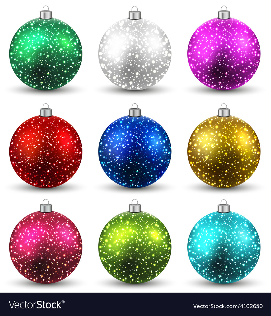 Set of realistic christmas balls vector | Price: 1 Credit (USD $1)