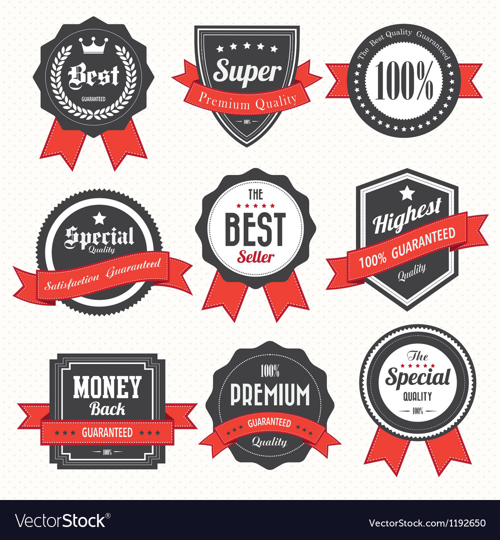 Set of retro vintage badges and labels vector   Price: 1 Credit (USD $1)