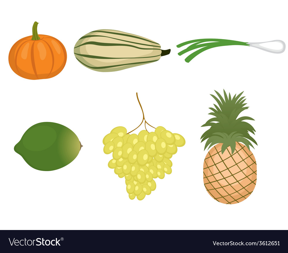 A fruits and vegetables set vector | Price: 1 Credit (USD $1)