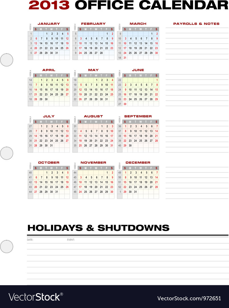 Accounting calendar 2013 vector   Price: 1 Credit (USD $1)