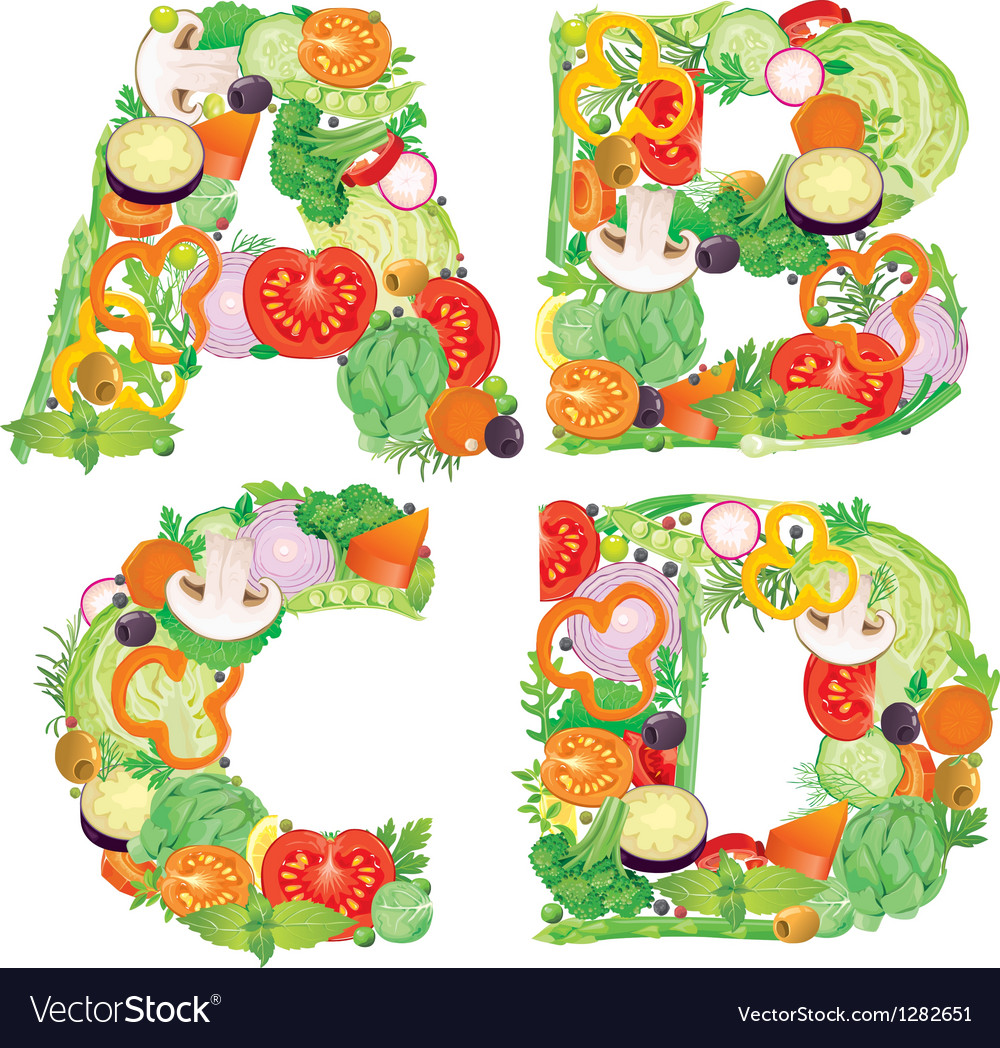 Alphabet of vegetables abcd vector | Price: 3 Credit (USD $3)