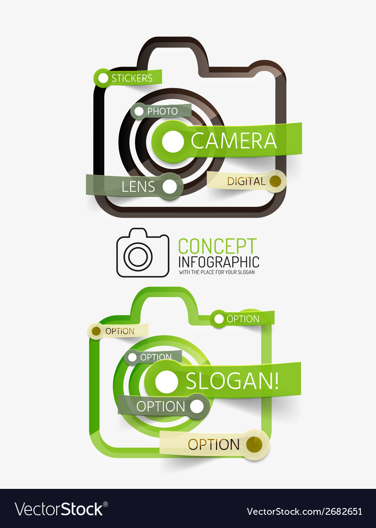 Camera infographics with tag cloud design vector | Price: 1 Credit (USD $1)