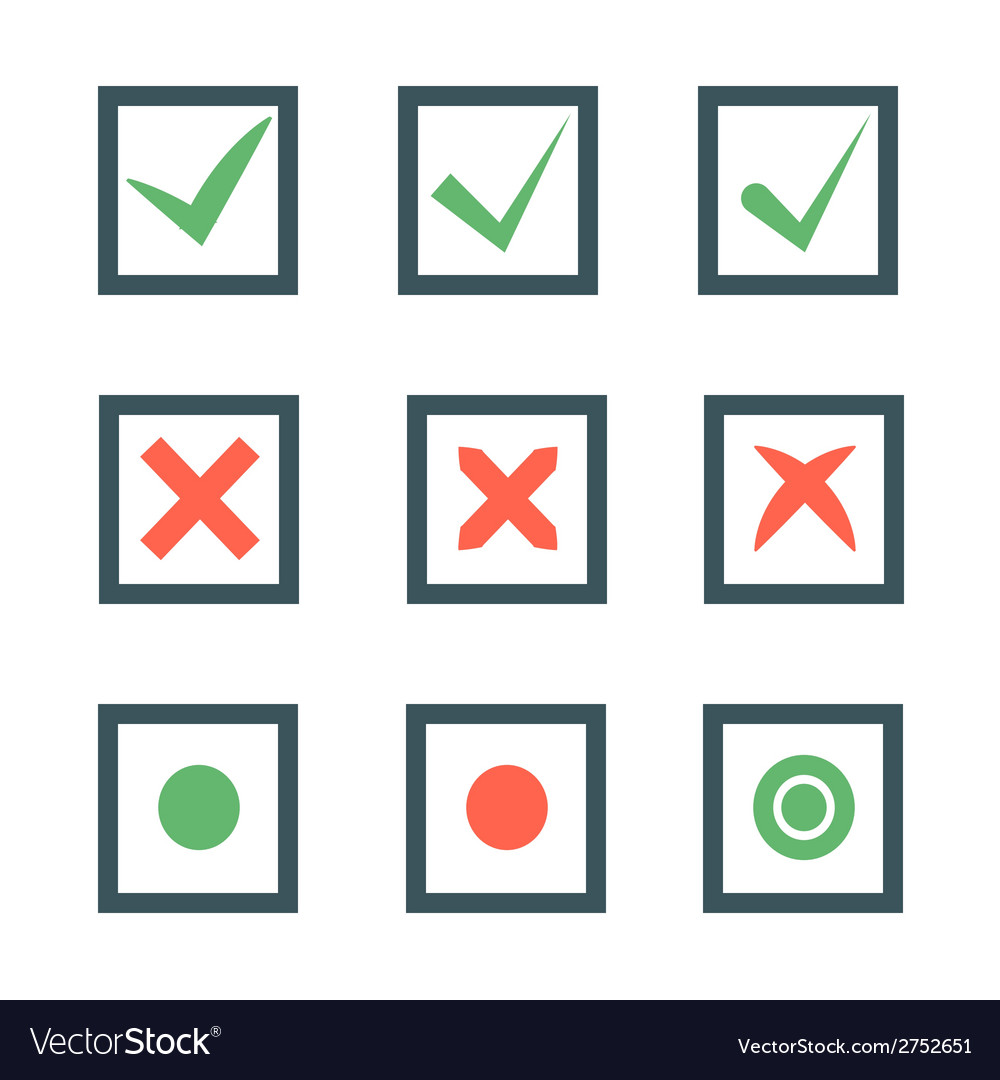 Check marks or ticks in boxes set vector | Price: 1 Credit (USD $1)