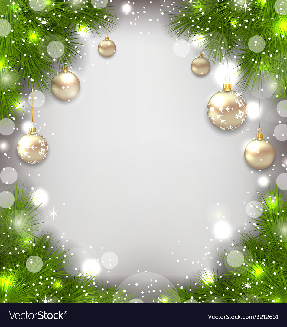 Christmas decorative border from fir twigs glowing vector | Price: 1 Credit (USD $1)