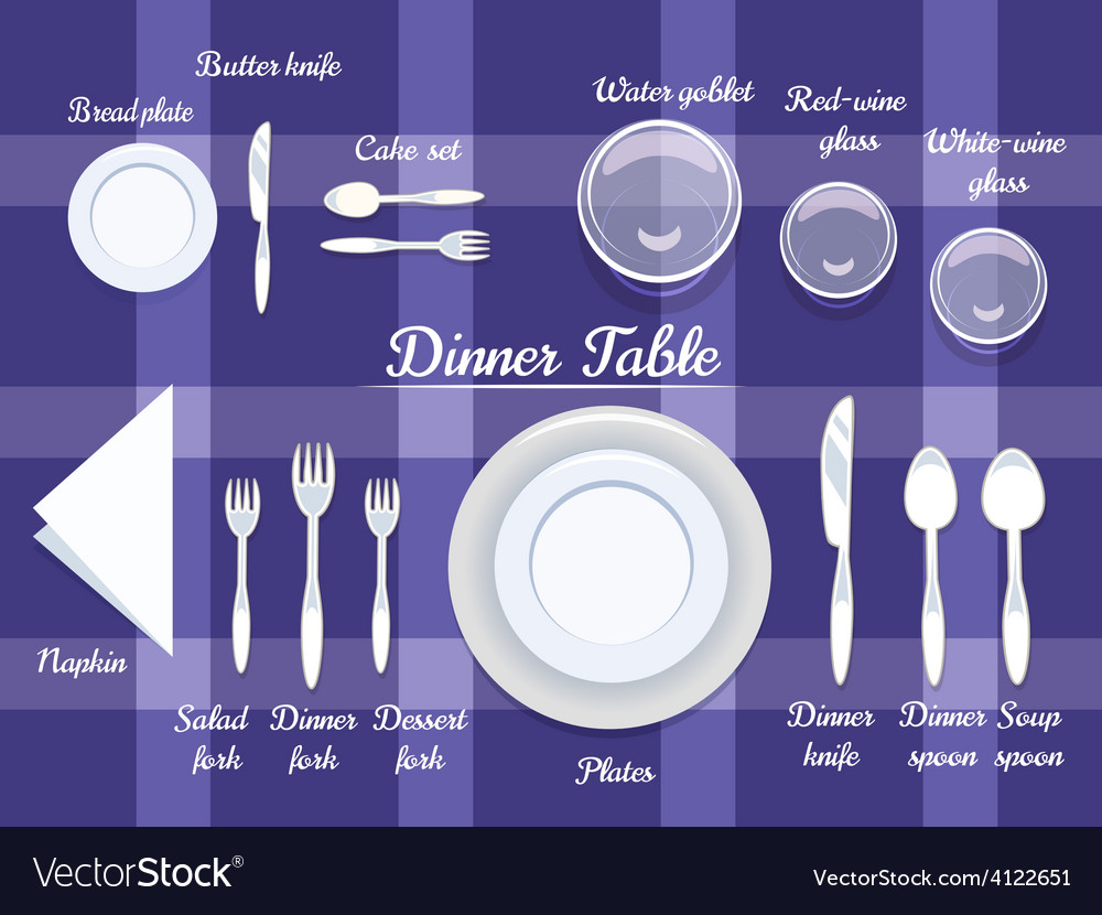 Cutlery on dining table vector | Price: 1 Credit (USD $1)