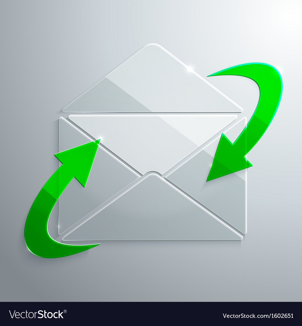 Glass icon of open envelope with arrows vector | Price: 1 Credit (USD $1)