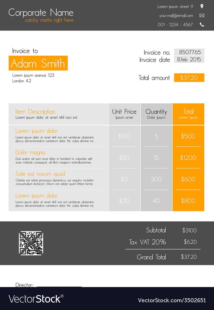 Invoice template orange - clean modern style vector   Price: 1 Credit (USD $1)