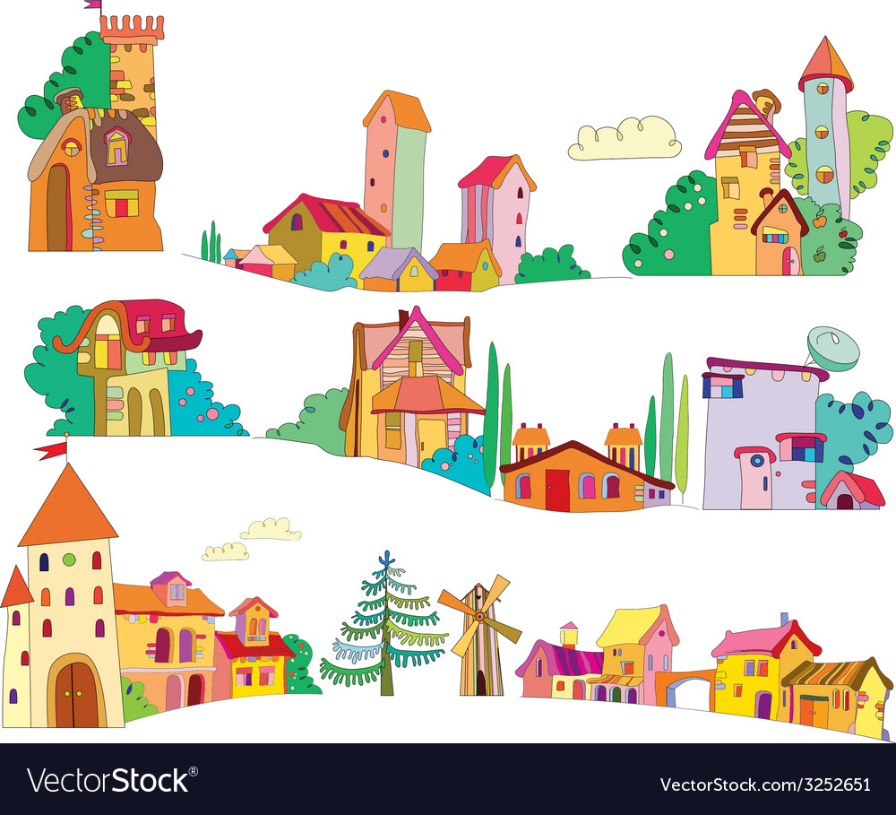 Set of colored cartoon houses painted by hand vector | Price: 1 Credit (USD $1)