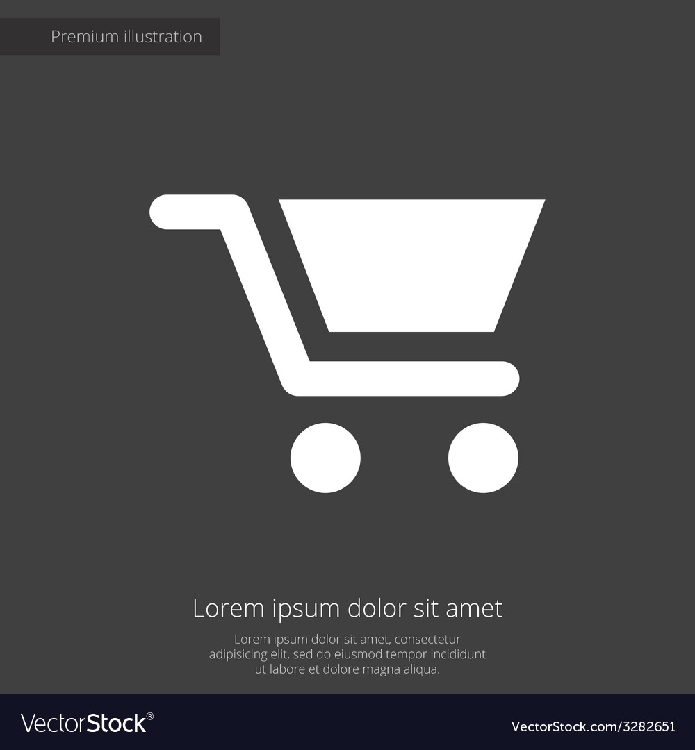 Shopping cart premium icon white on dark backgroun vector | Price: 1 Credit (USD $1)