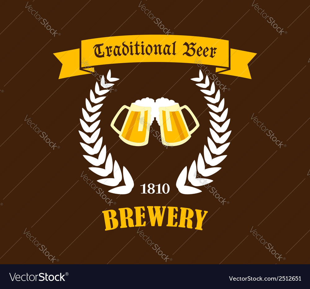 Traditional beer emblem or label vector | Price: 1 Credit (USD $1)