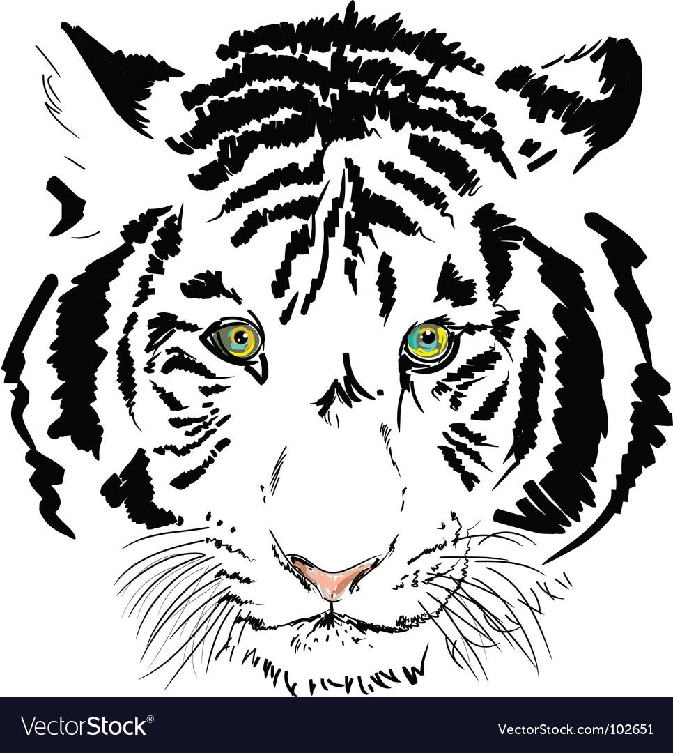 White tiger vector | Price: 1 Credit (USD $1)