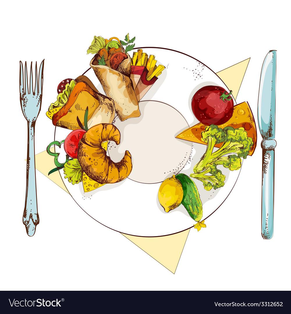 Healthy and unhealthy food vector | Price: 3 Credit (USD $3)